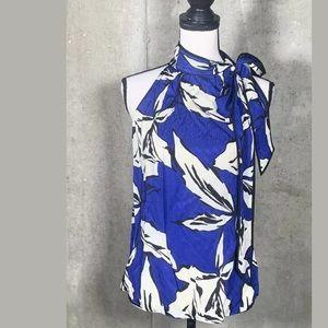 Veronica Beard Halterneck Sleeveless Blue Floral